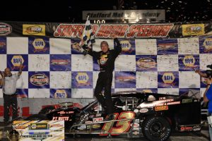 Ted Christopher celebrates victory in the NAPA SK 5K Friday at Stafford Motor Speedway (Photo: Driscoll MotorSports Photography)