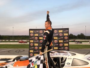Ryan Preece celebrates victory Wednesday at Thompson Speedway