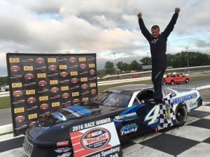 William Wall celebrates victory in the Late Model feature Wednesday at Thompson Speedway (Photo: Thompson Speedway)