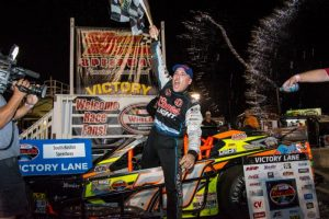 James Civali celebrates victory in Saturday's NASCAR Whelen Southern Modified Tour event at South Boston (Va) Speedway (Photo: Brenda Meserve/NASCAR)