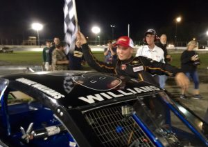 Ronnie Williams celebrates his first career SK Modified victory at the New London-Waterford Speedbowl Saturday