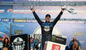 Thriller: Kevin Harvick Tops Denny Hamlin In Banging Duel To Finish Of Foxwoods 301 At NHMS